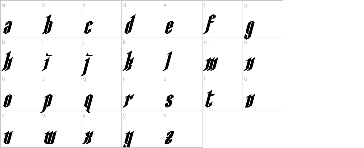 AngloYsgarth Bold Italic lowercase