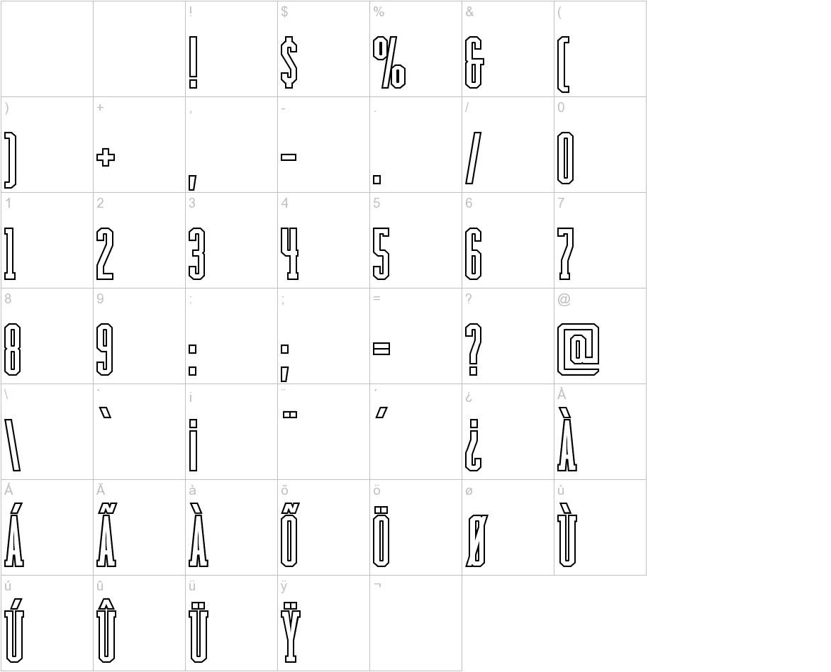 Backboard Outline characters