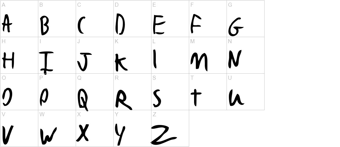 Bad Handwriting 7.2 uppercase
