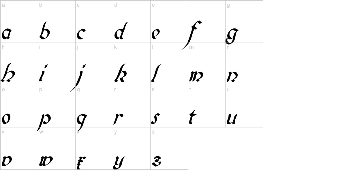 Biedermeier Kursiv lowercase