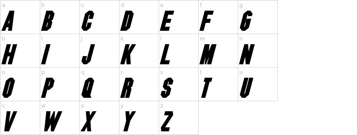 Blitzwing Bold Italic lowercase