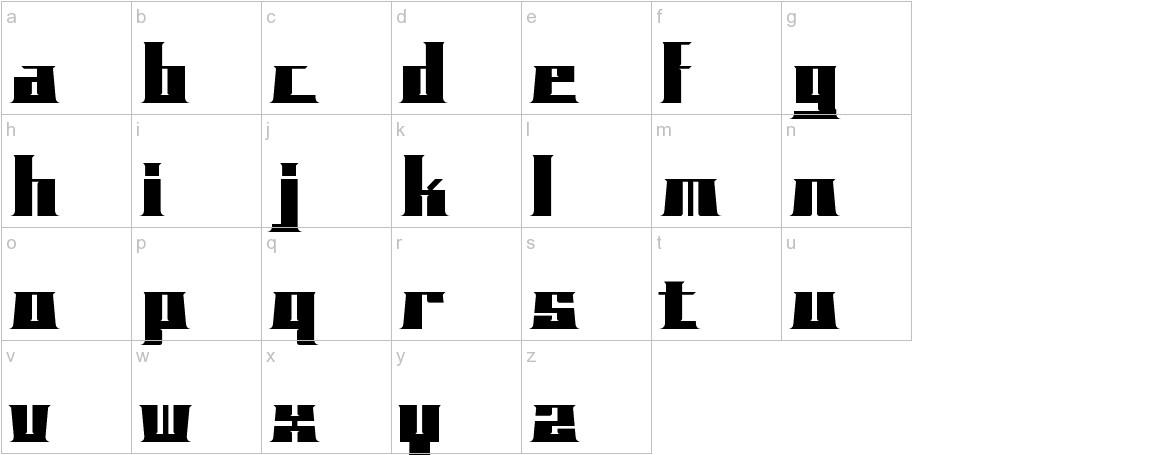 BLOCKO typeface lowercase