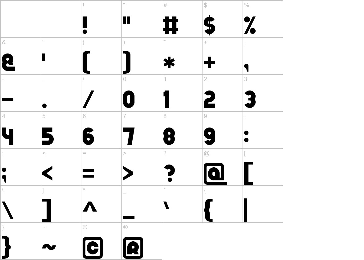 Bold Game Font 7 characters