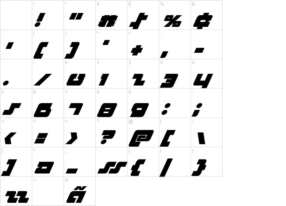 Boomstick Super-Italic characters