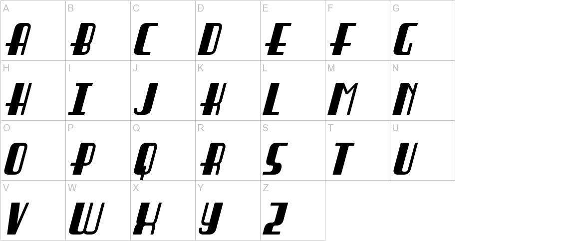 Braddington Italic uppercase