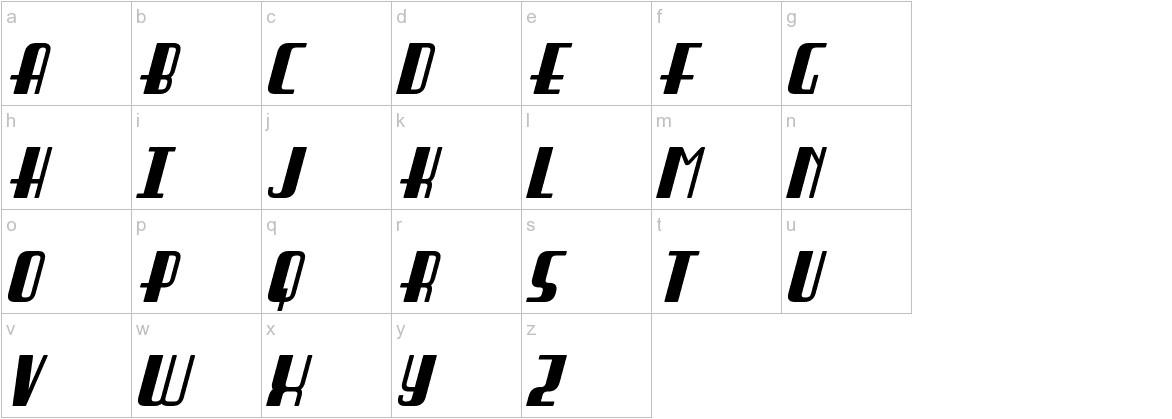 Braddington Italic lowercase
