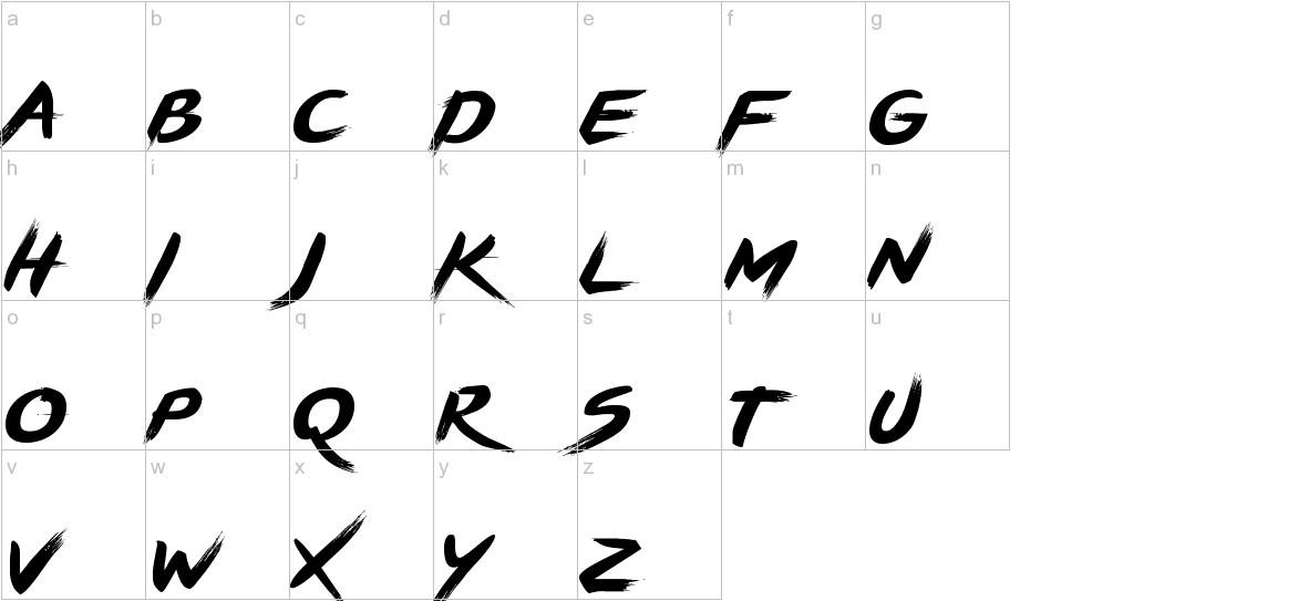 BRUSHSTRIKE lowercase