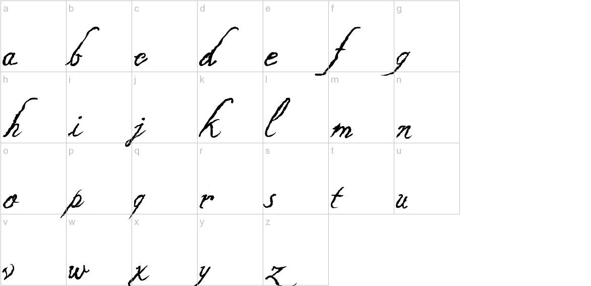 Caligraf 1435 Italic lowercase