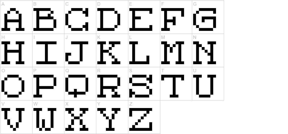 Code 8x8 uppercase