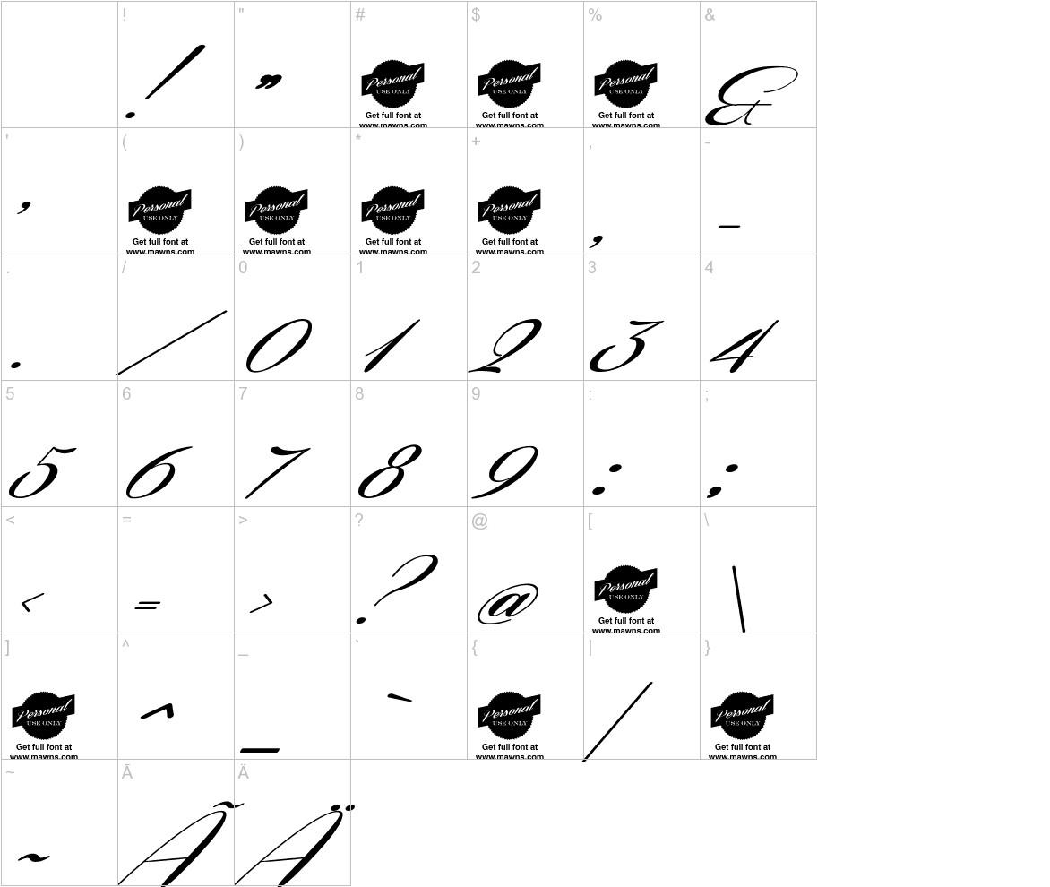 Coneria Script Slanted characters