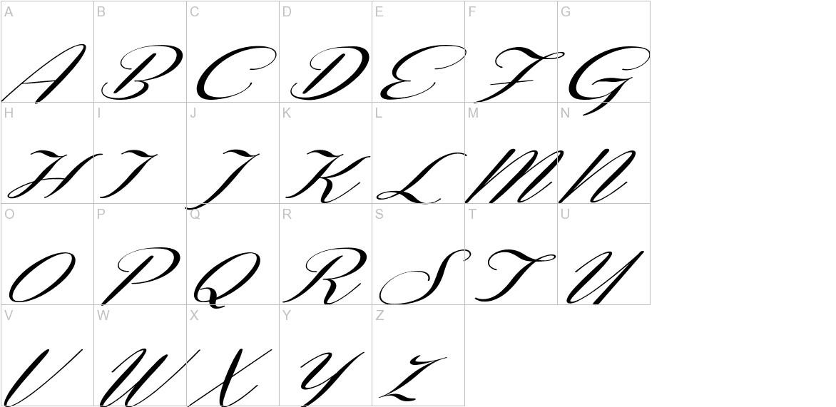 Coneria Script Slanted uppercase