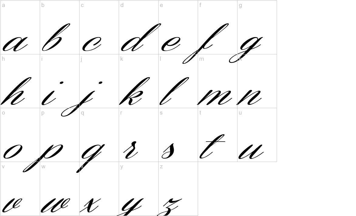 Coneria Script Slanted lowercase