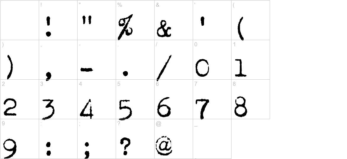 Corona 4 Typewriter characters