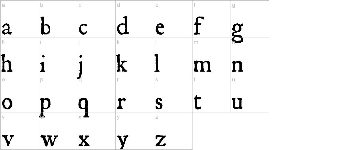 JSL Ancient lowercase