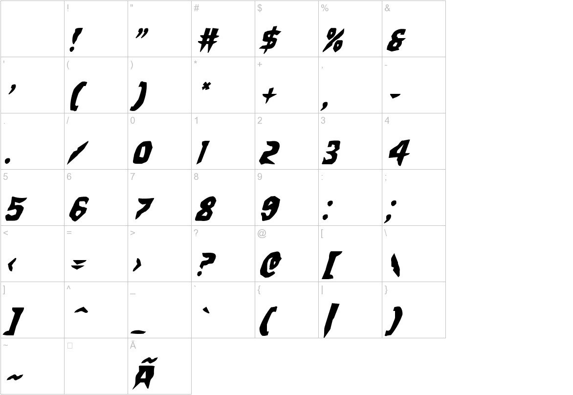 Count Suckula Staggered Italic characters