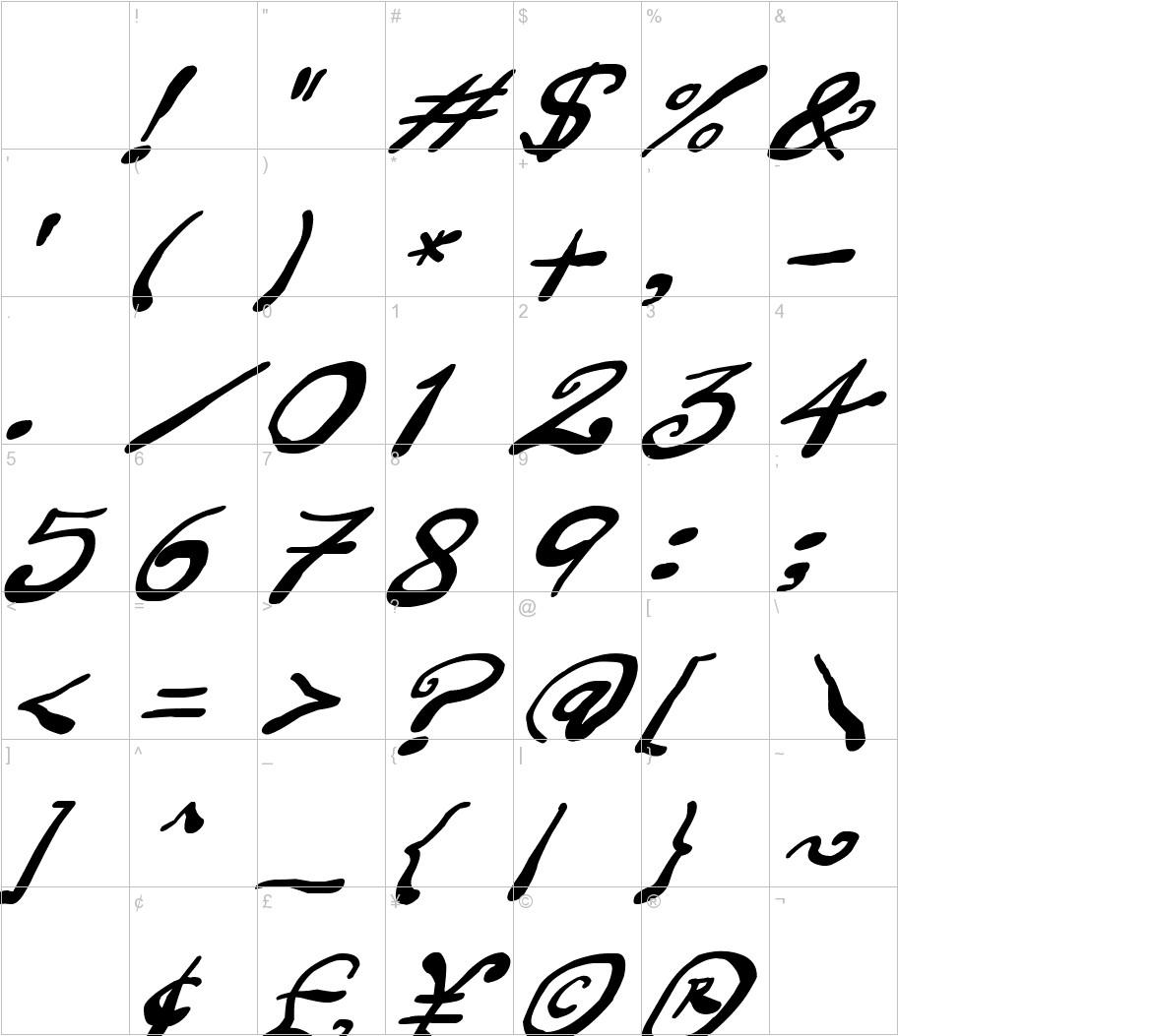 Creepy Scrawly Italic characters