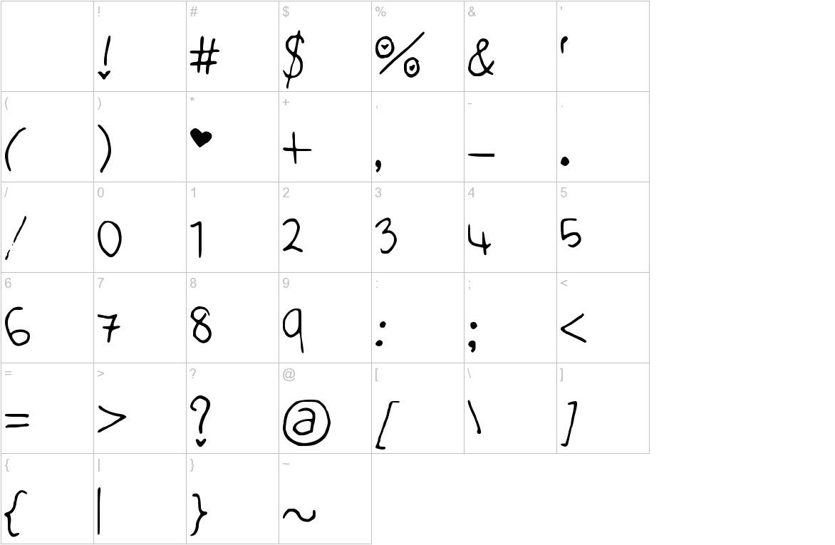 Cute_Heart_Font characters