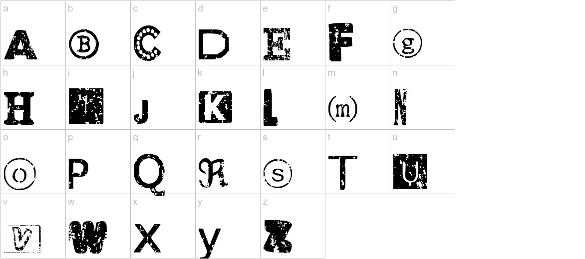 Distressed Ransom Note lowercase