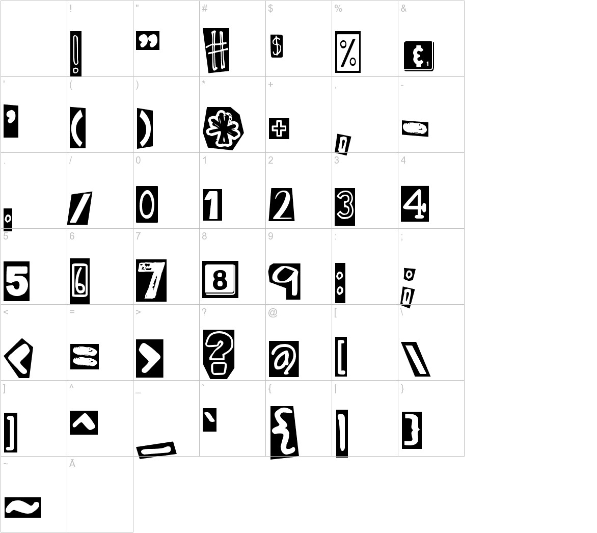 DJB Ransom Note Clipped Messy characters