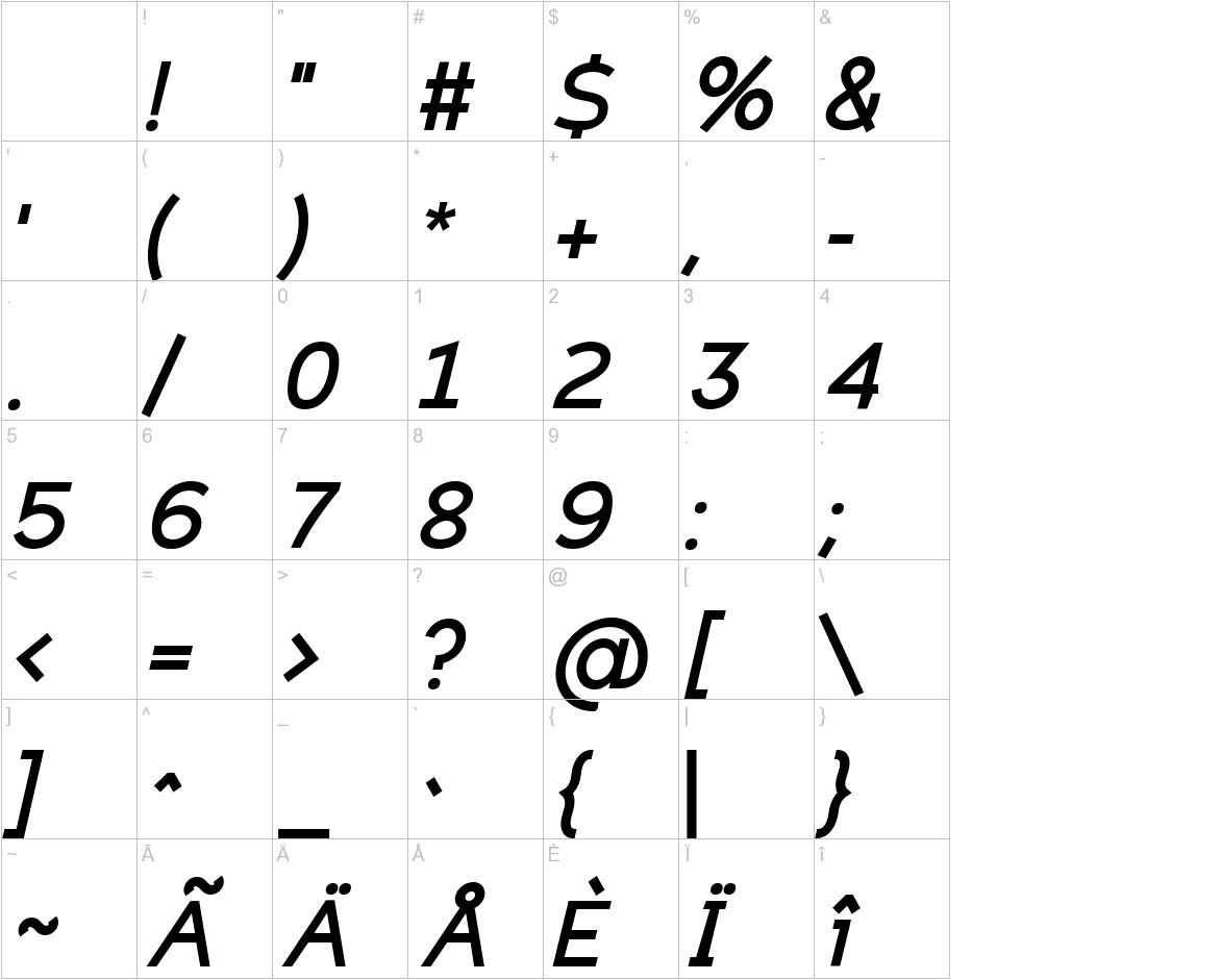 Eligible Sans Bold Italic characters