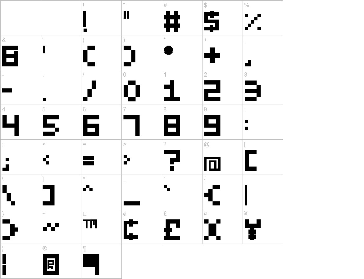 Evilborn Typeface characters