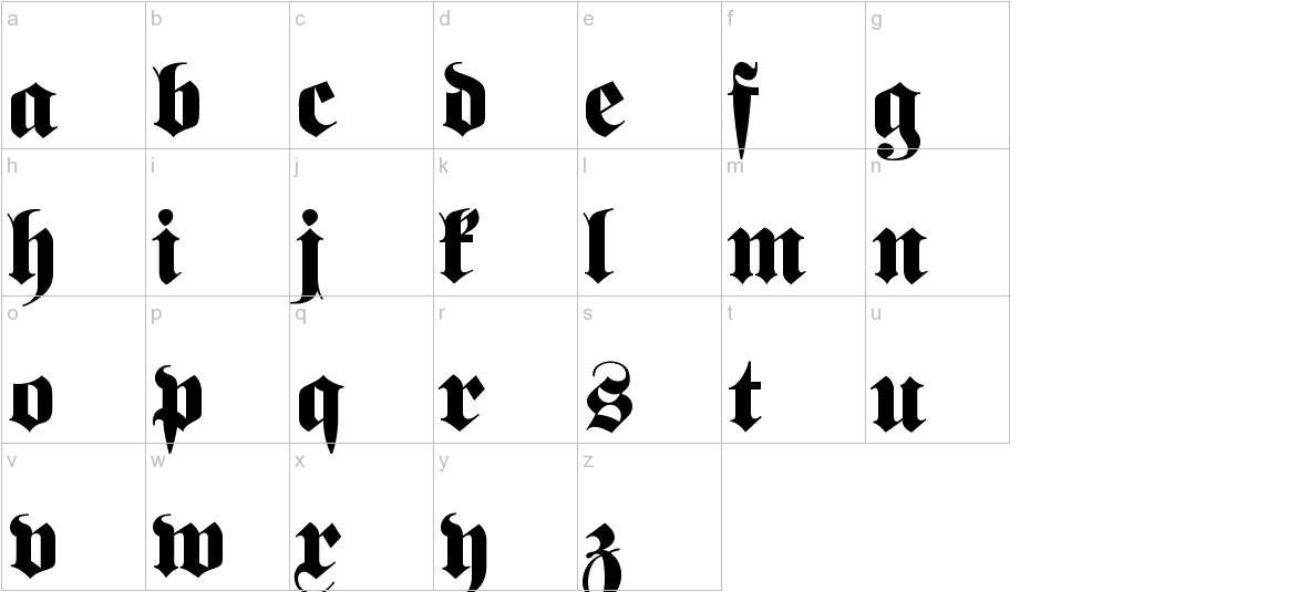 Fette classic UNZ Fraktur lowercase