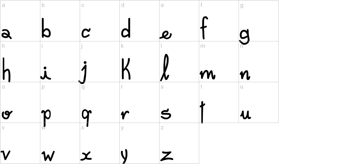 Freehand Written lowercase