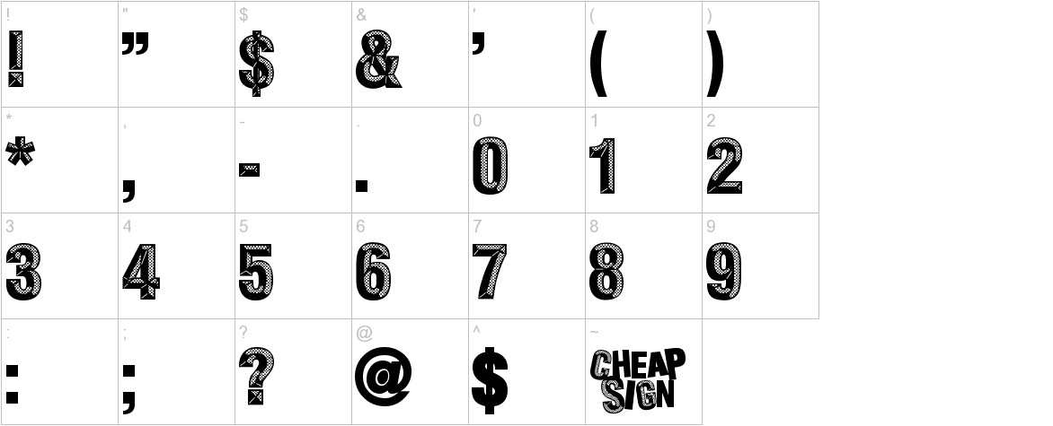 cheapsign characters