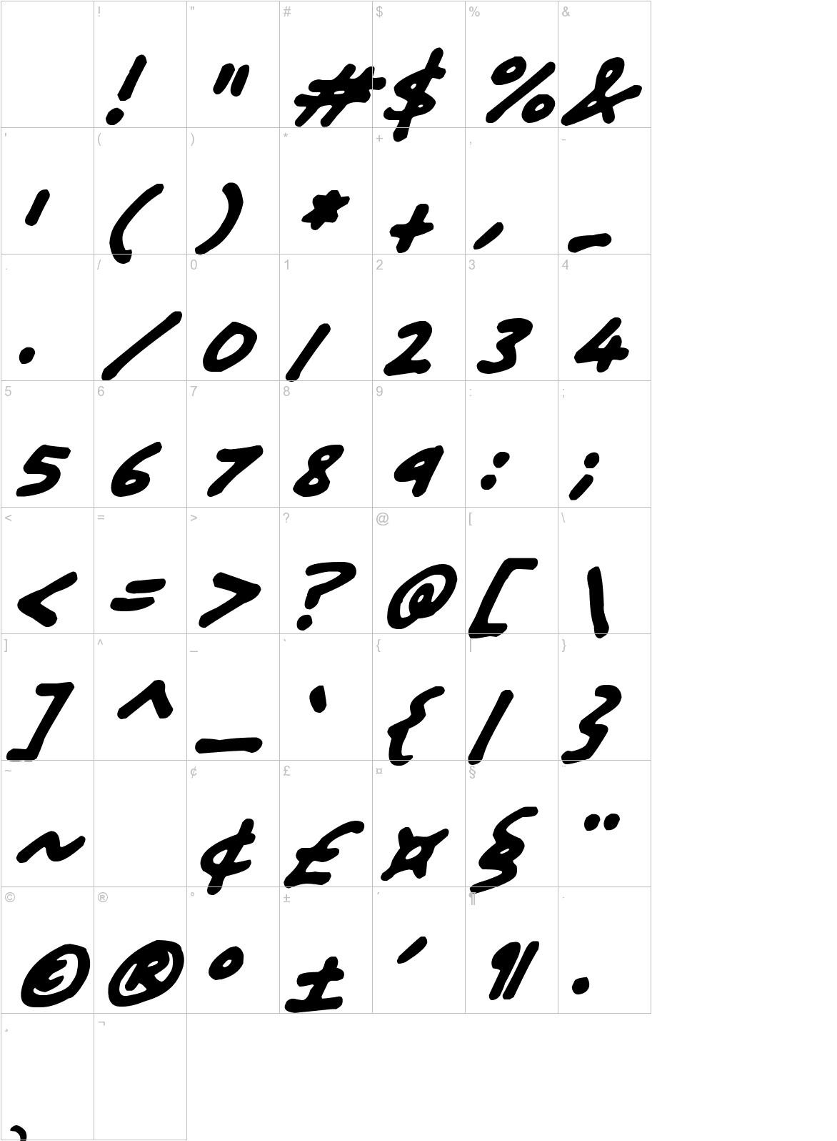 Friendly Felt Tips Italic characters