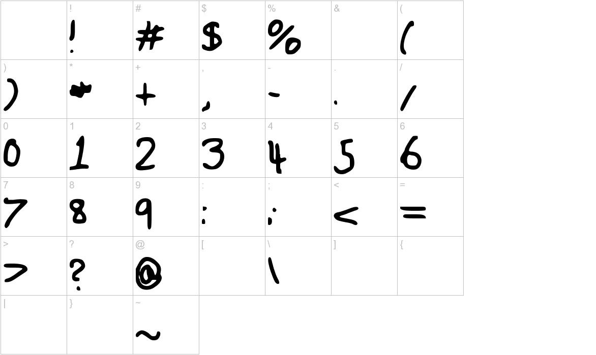 Fuzzy_Font characters