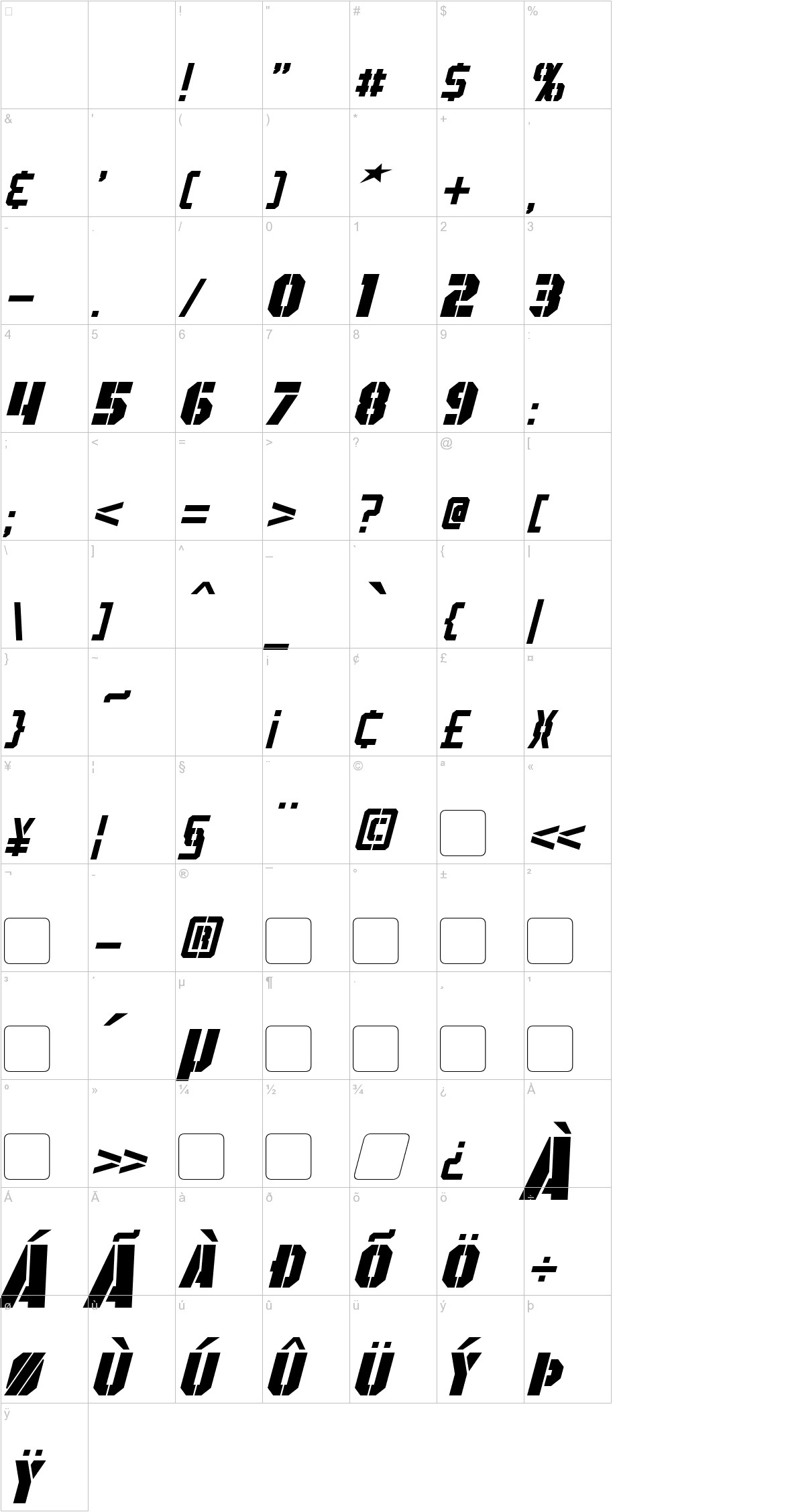 GI Colton Italic characters