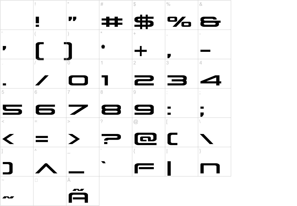 Grand Sport Condensed characters