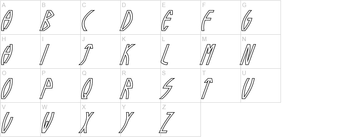Guazhiru Italic Outlined uppercase