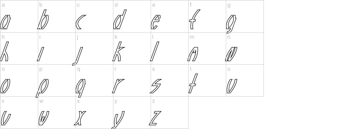Guazhiru Italic Outlined lowercase