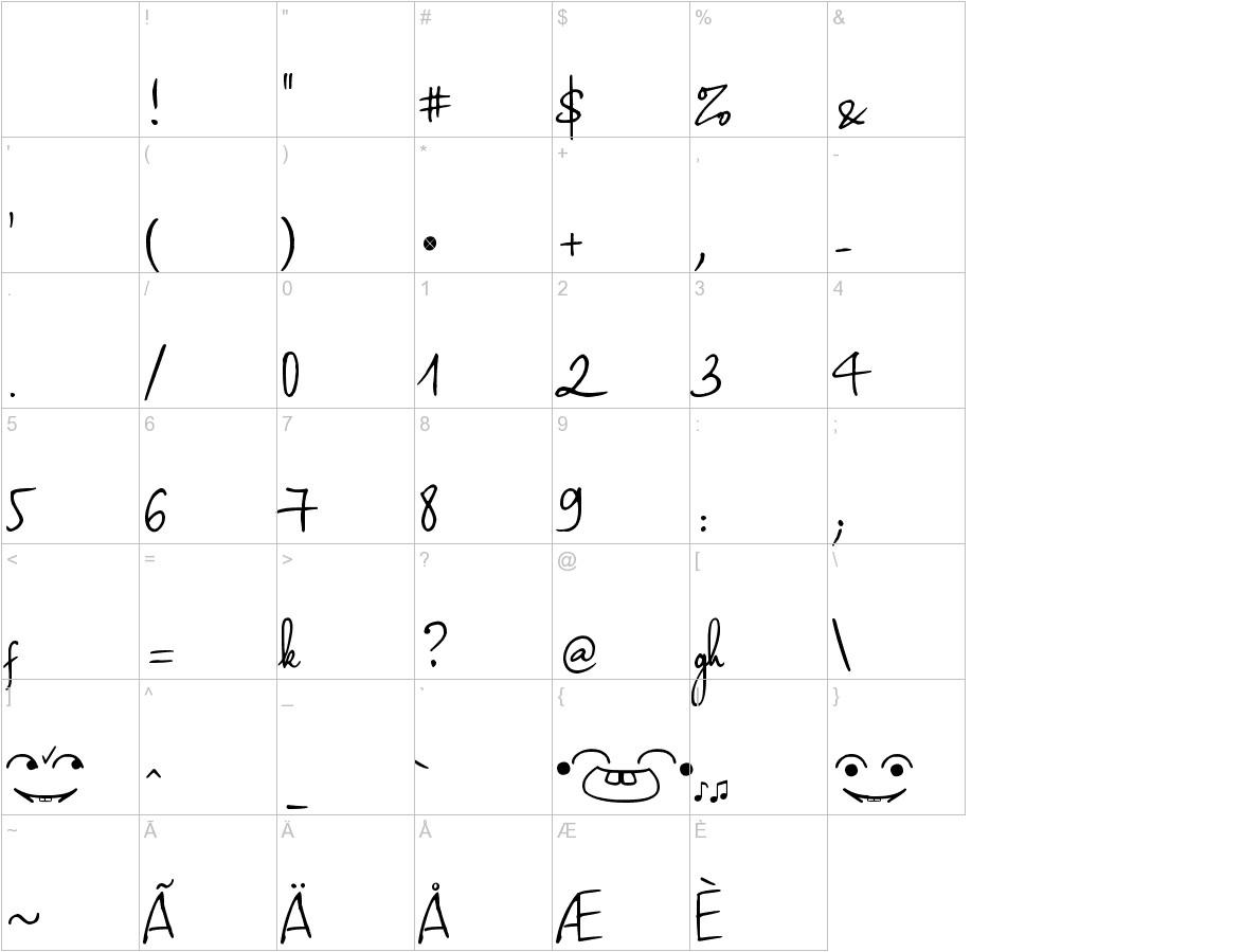 Haiku's Script ver 09 Bold characters