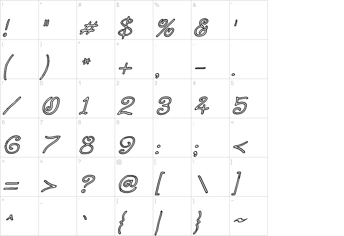 Curlmudgeon Hollow Italic characters