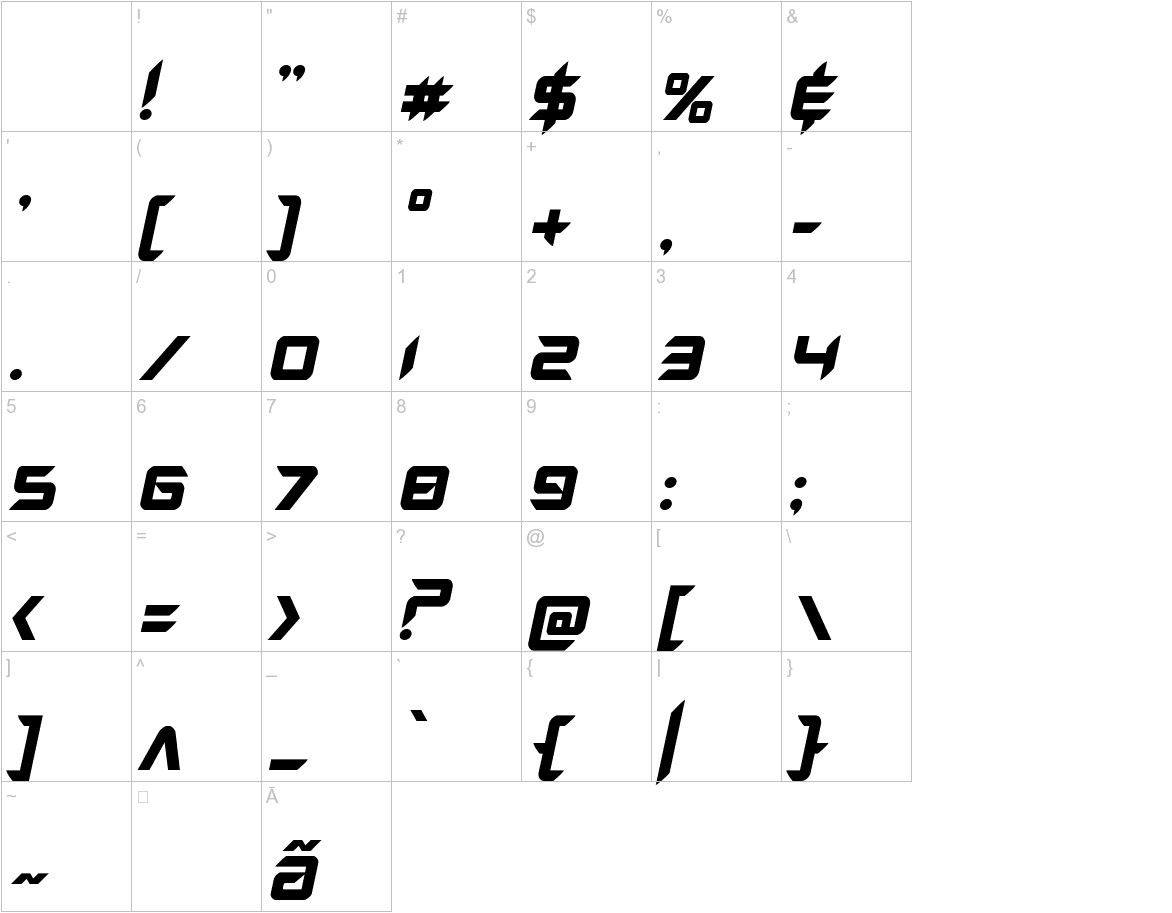 Hollow Point Italic characters