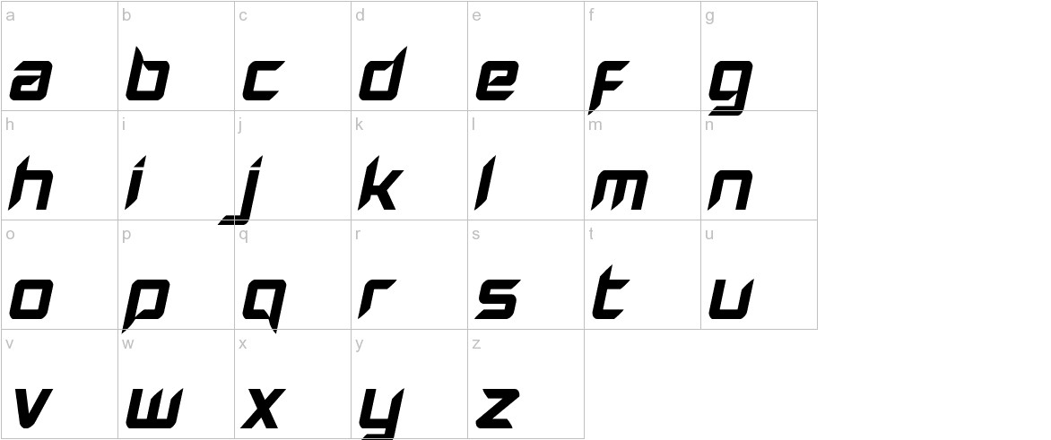 Hollow Point Italic lowercase