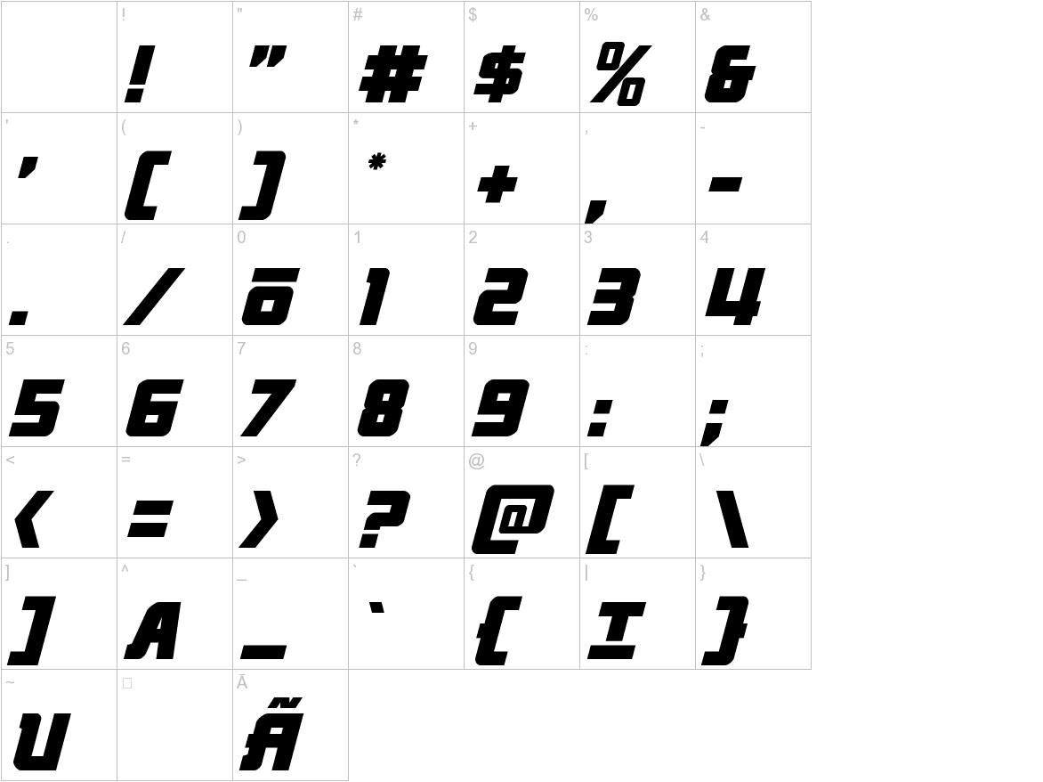 Hong Kong Hustle Italic characters