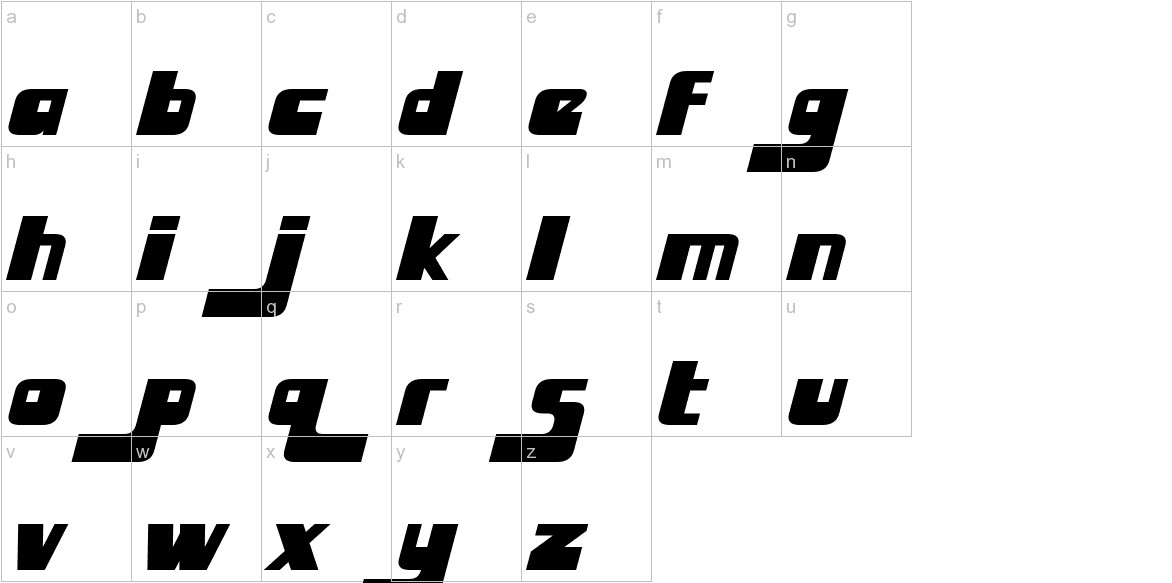 Huggy Bear Italic lowercase
