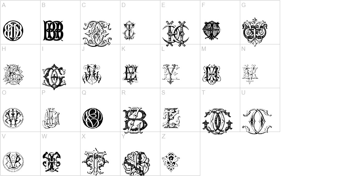 Intellecta Monograms Random Samples Eleven uppercase