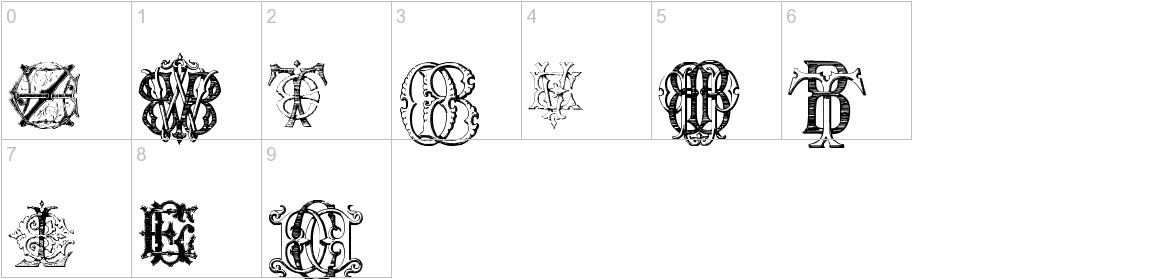 Intellecta Monograms Random Samples Eleven characters
