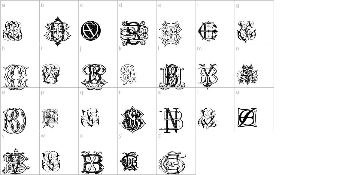 Intellecta Monograms Random Samples Eleven lowercase