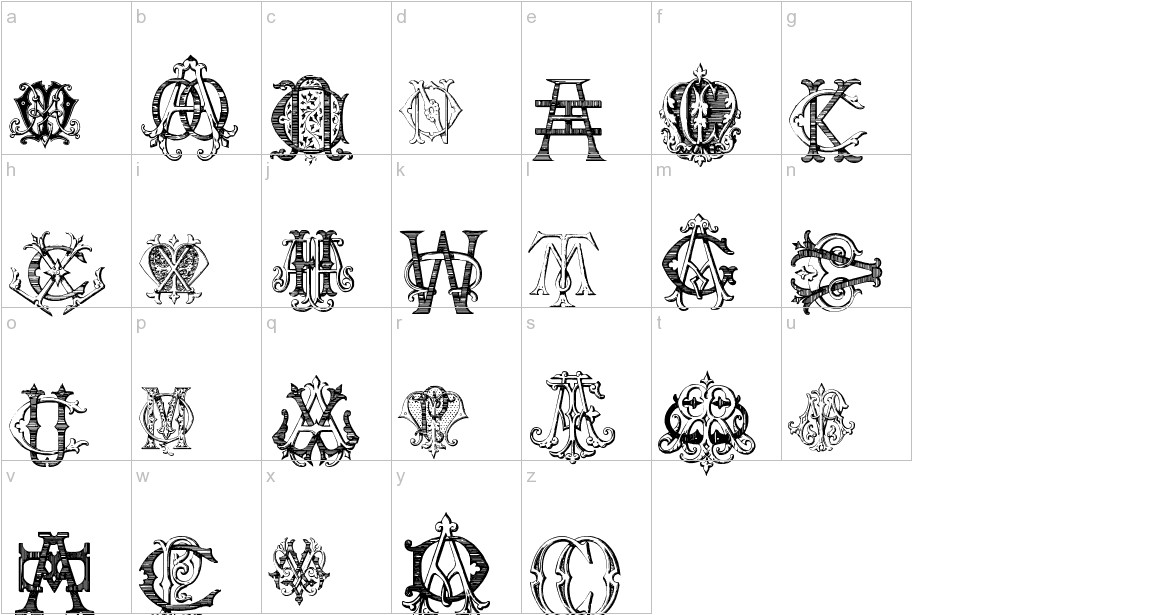 Intellecta Monograms Random Samples Five lowercase