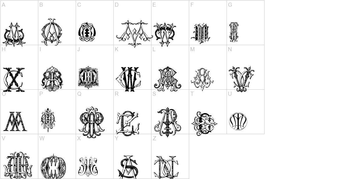 Intellecta Monograms Random Samples Five uppercase