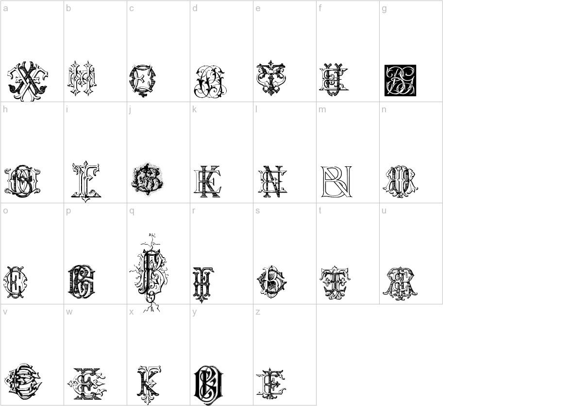 Intellecta Monograms Random Samples Four lowercase