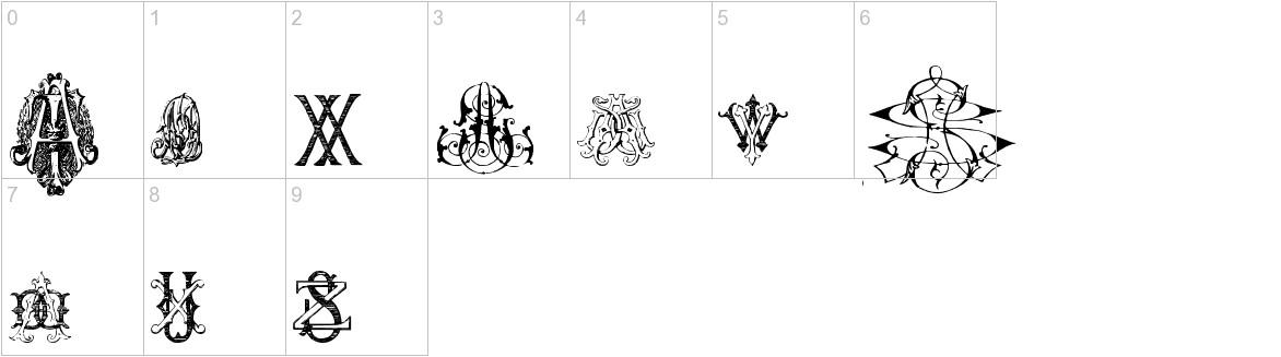 Intellecta Monograms Random Samples Nine characters