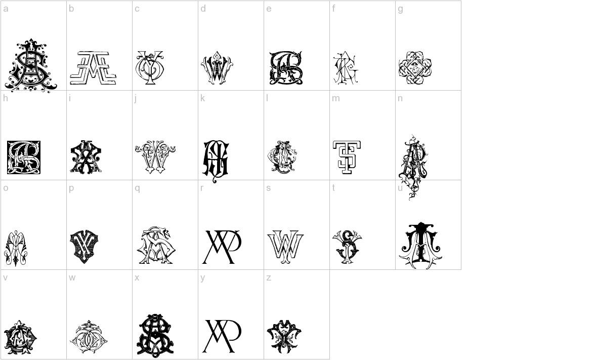 Intellecta Monograms Random Samples Nine lowercase