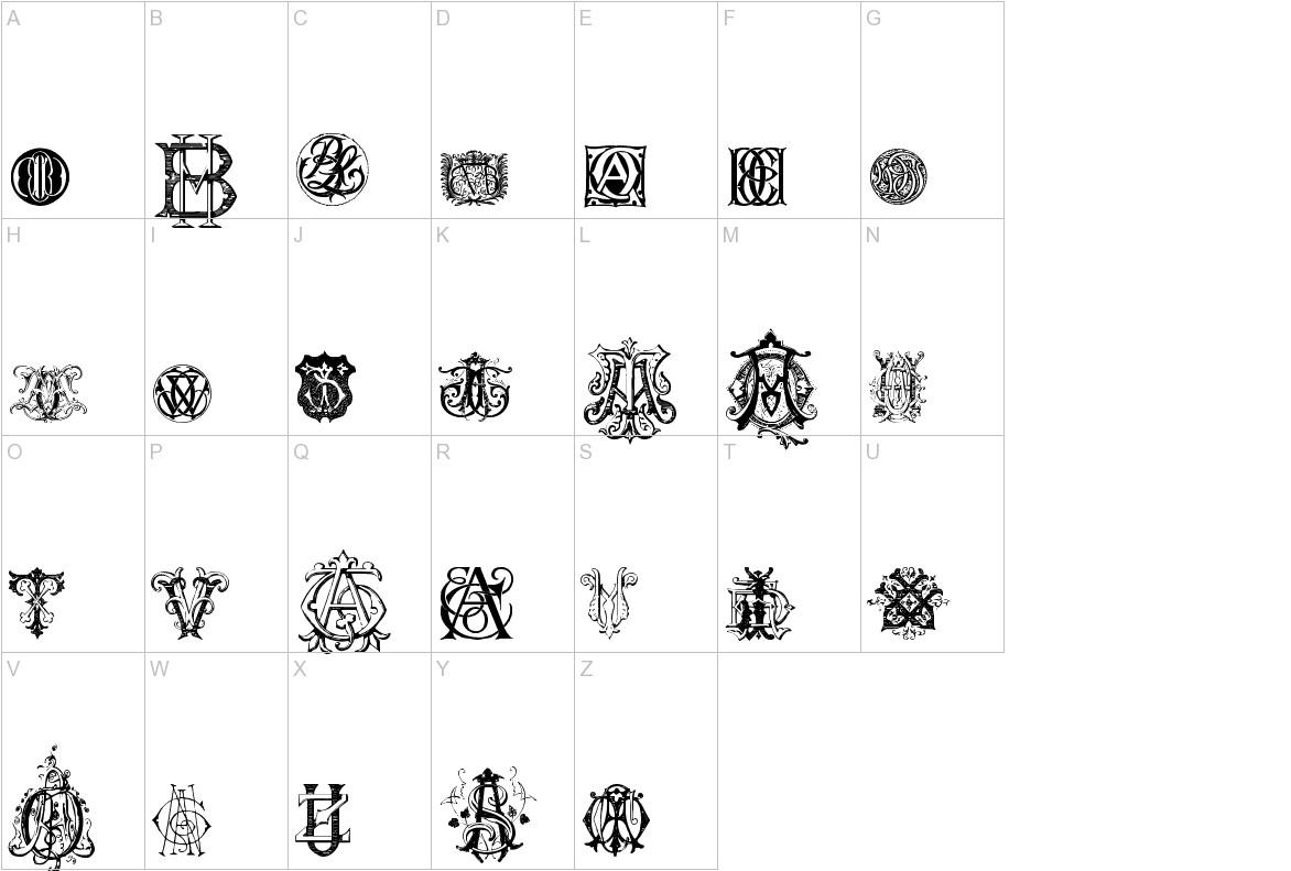 Intellecta Monograms Random Samples Nine uppercase