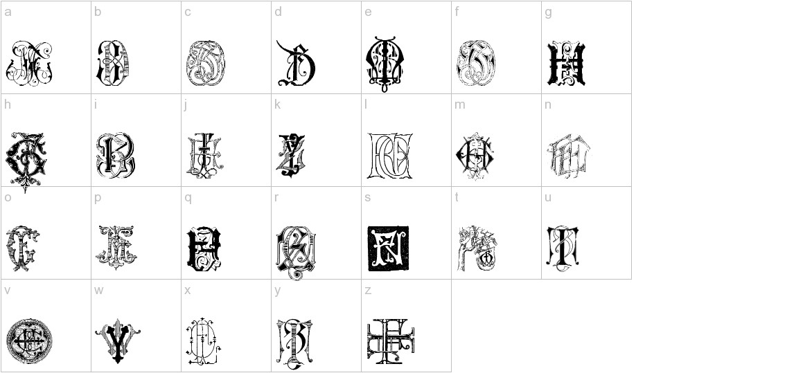 Intellecta Monograms Random Samples Seven lowercase